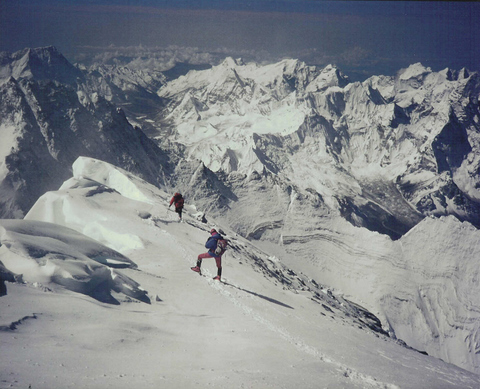 Peter watches Rob Hall and Gary Ball ascend to the summit of Mt Everest, 1990