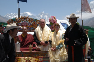 Thyangboche Rimpoche with Peter and Amelia with Everest behind