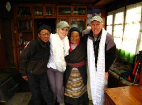 "Peter Hillary with his daughter Amelia and longtime friends Ang Dooli and Temba Sherpa in 2008.  Peter calls AngDooli his ""Himalayan Aunt"""